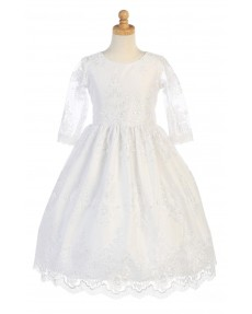 Girls Dress Style 067518 Ivory Floor-length Lace Round A-line Dress in Choice of Colour