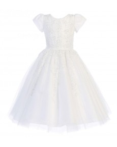 Girls Dress Style 067818 Ivory Floor-length Lace , Beading Round A-line Dress in Choice of Colour