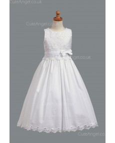 Girls Dress Style 067918 Ivory Floor-length Lace , Applique Round A-line Dress in Choice of Colour