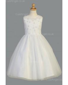 Girls Dress Style 068118 Ivory Floor-length Beading Bateau A-line Dress in Choice of Colour