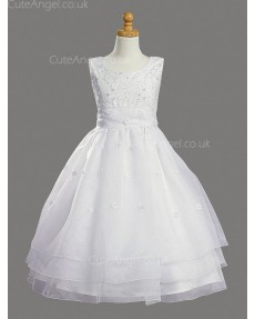 Girls Dress Style 068618 Ivory Floor-length Beading , Applique Bateau A-line Dress in Choice of Colour