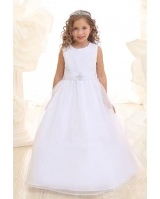 Girls Dress Style 069118 White Floor-length Beading Round A-line Dress in Choice of Colour