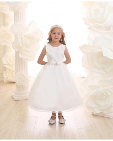Girls Dress Style 069418 Ivory Ankle Length Beading Round A-line Dress in Choice of Colour