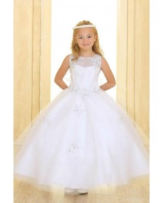 Girls Dress Style 069918 Ivory Floor-length Applique Bateau A-line Dress in Choice of Colour