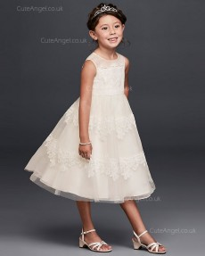 Tea Length Princess Ivory Lace Flower Girls Dress First  Communion Dress 1805004