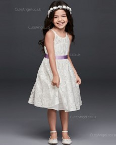 A-line Princess Knee Length Lace Tie Back Halter Flower Girl Dress