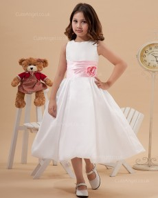 Beautiful Bateau Collar A-line Tea-length Ivory Flower Girl Dress