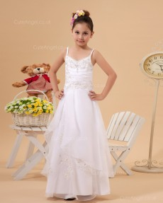 Beautiful Girls Ivory Floor-length A-line First Communion / Flower Girl Dress