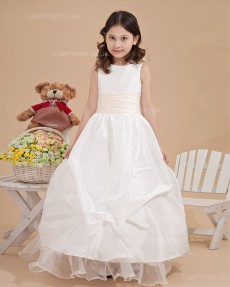 Beautiful Ivory Floor-length Hand Made Flower A-line Flower Girl Dress