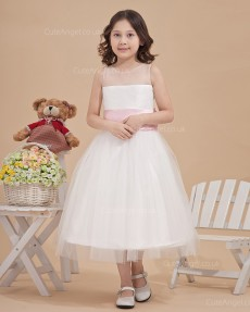 Beautiful Romantica Ivory Tea-length Ball Gown First Communion / Flower Girl Dress