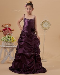 Budget Amazing Burgundy Sweep A-line First Communion / Pageant Dress