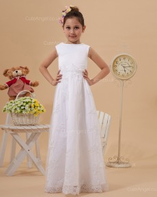 Budget Best Ivory Floor-length A-line First Communion / Flower Girl Dress