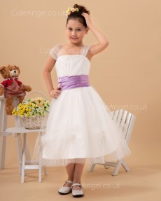 Budget Celebrity Ivory Tea-length A-line First Communion / Flower Girl Dress