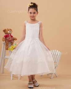 Budget Princess Tea-length Applique Bateau Collar A-line Organza Flower Girl Dress