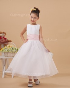Cheap Ivory Ankle Length A-line First Communion / Flower Girl Dress
