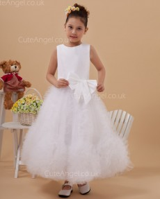 Discount Ivory Ankle Length A-line First Communion / Flower Girl Dress