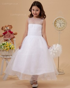 Elegant Best White Tea-length beading Flower Girl Dress