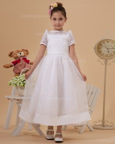 Elegant Ivory Tea-length A-line First Communion / Flower Girl Dress
