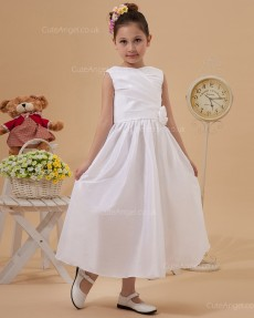 Elegant Stunning Ivory Tea-length A-line First Communion / Flower Girl Dress