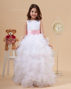 Elegant White Floor-length A-line First Communion / Pageant Dress