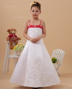 Flower Girl Dress First Communion Style Satin A-line Dress