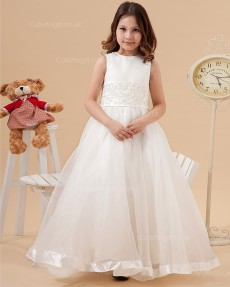 Girls Ivory Floor-length A-line First Communion / Flower Girl Dress