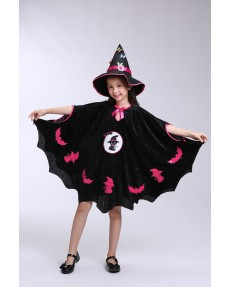 Kids Girls Halloween Clothes Costume Dress Party Cloak+Hat+Pumpkin Bag Outfit children's Halloween gift