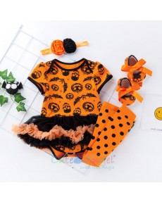 2018 New Halloween short sleeve Dress Baby jumpsuit Four-piece set Children's wear for Baby girl 0-2 years old