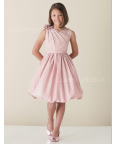 UK Pearl Pink Knee-Length A-line First Communion / Flower Girl Dress