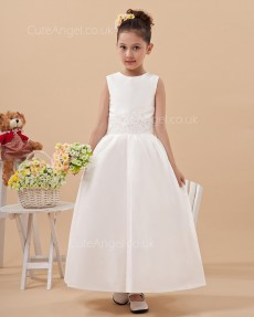 Vintage Discount Ivory Ankle Length A-line First Communion / Flower Girl Dress