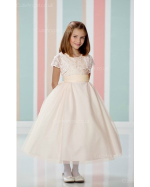 Girls Dress Style 060118 Pearl Pink Tea-length Lace Bateau A-line Dress in Choice of Colour