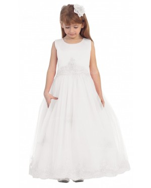 Girls Dress Style 060418 Ivory Floor-length Lace Bateau A-line Dress in Choice of Colour