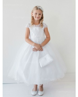 Girls Dress Style 060618 White Ankle Length Lace Round A-line Dress in Choice of Colour