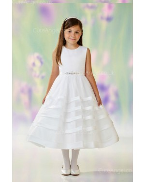 Girls Dress Style 0610018 Ivory Tea-length Beading Round A-line Dress in Choice of Colour