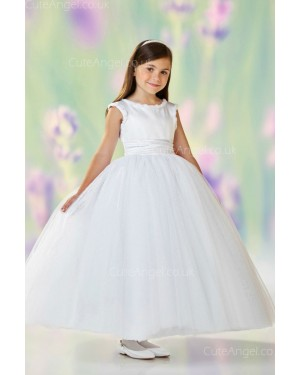 Girls Dress Style 0610118 Ivory Ankle Length Bowknot Bateau A-line Dress in Choice of Colour