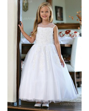Girls Dress Style 061018  Floor-length Applique Round A-line Dress in Choice of Colour
