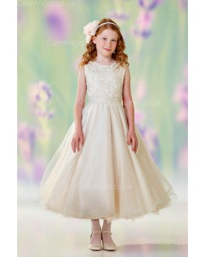 Girls Dress Style 0610318 Champagne Ankle Length Beading , Applique Bateau A-line Dress in Choice of Colour