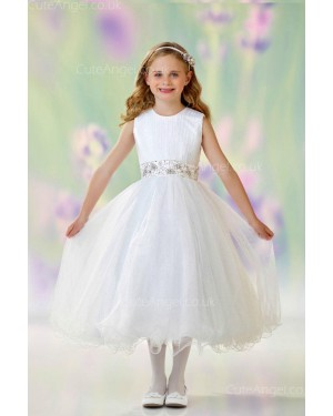 Girls Dress Style 0610418 Ivory Tea-length Beading Round A-line Dress in Choice of Colour