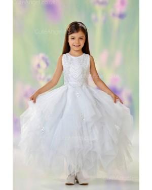 Girls Dress Style 0610518 Ivory Floor-length Beading Bateau A-line Dress in Choice of Colour