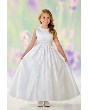 Girls Dress Style 0610618 Ivory Floor-length Beading Round A-line Dress in Choice of Colour
