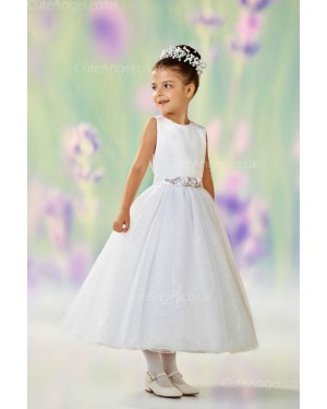 Girls Dress Style 0610918 Ivory Ankle Length Hand Made Flower Round A-line Dress in Choice of Colour
