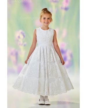 Girls Dress Style 0611018 Ivory Ankle Length Lace Round A-line Dress in Choice of Colour