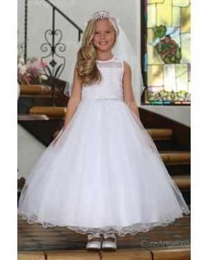 Girls Dress Style 061118 White Ankle Length Beading , Bowknot Round A-line Dress in Choice of Colour