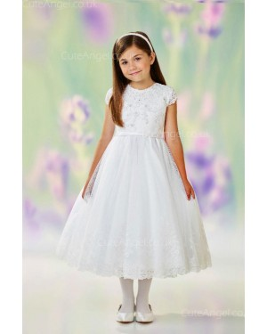 Girls Dress Style 0611218 Ivory Tea-length Lace Round A-line Dress in Choice of Colour