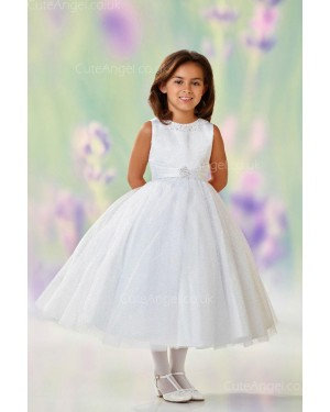 Girls Dress Style 0611418 Ivory Tea-length Beading Round A-line Dress in Choice of Colour