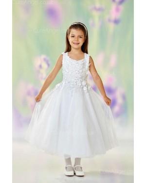 Girls Dress Style 0612018 Ivory Tea-length Hand Made Flower V-neck A-line Dress in Choice of Colour