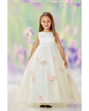 Girls Dress Style 0612218 Champagne Floor-length Hand Made Flower Round A-line Dress in Choice of Colour