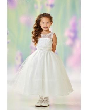 Girls Dress Style 0612418 Ivory Tea-length Beading Bateau A-line Dress in Choice of Colour