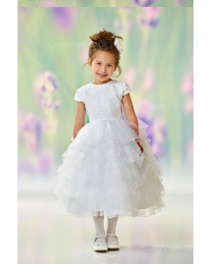 Girls Dress Style 0612818 Ivory Tea-length Lace , Tiered Round Ball Gown Dress in Choice of Colour