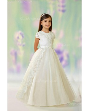 Girls Dress Style 0613018 Champagne Floor-length Lace , Beading , Applique Round A-line Dress in Choice of Colour